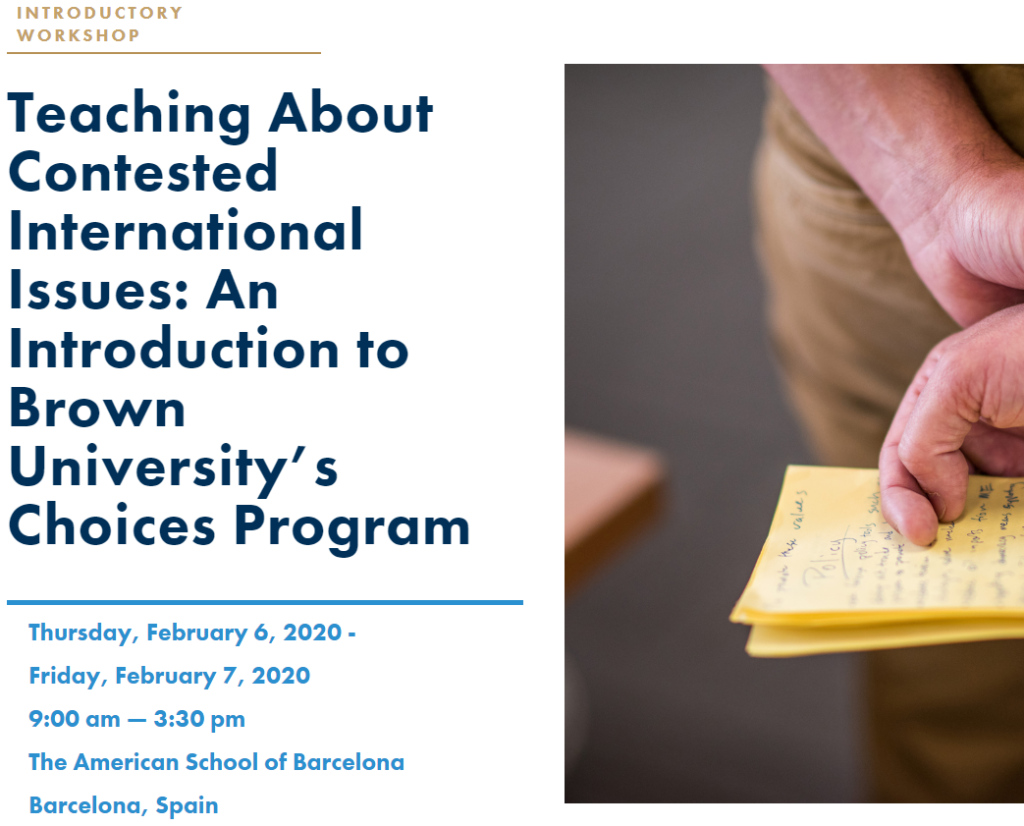 Teaching About Contested International Issues: An Introduction to Brown University's Choices Program
