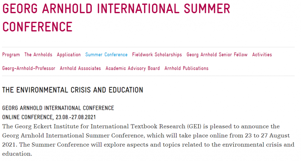 Call for Papers: The Environmental Crisis and Education